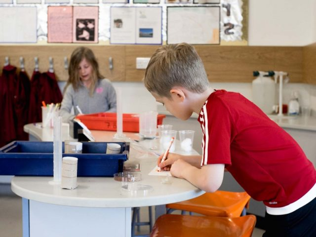 Key workers' children taking part in science at School